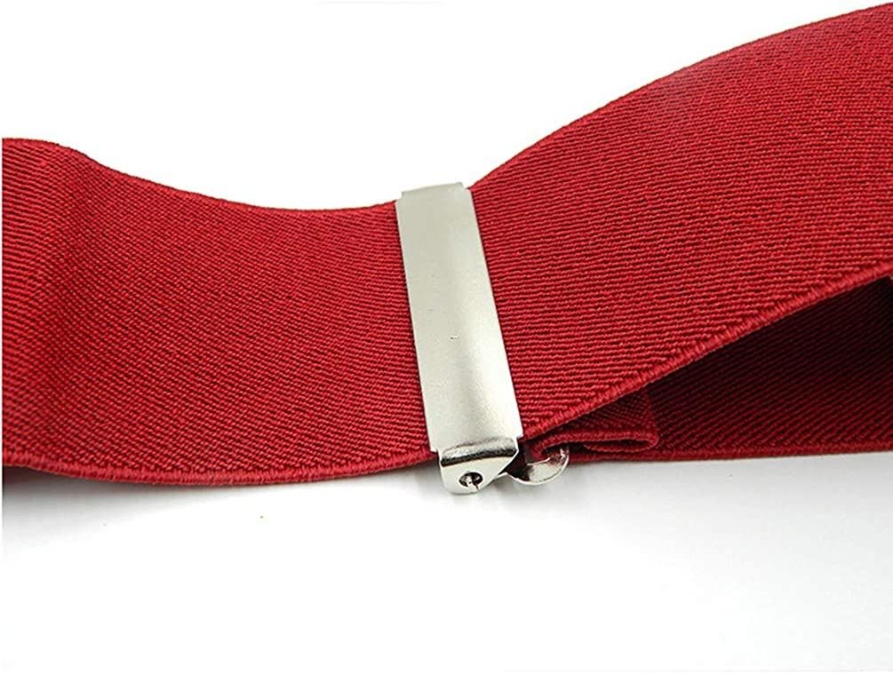 Mens Solid Color X-Back 2 Inch Wide Suspenders Heavy Duty Braces/&4 Straight Clip