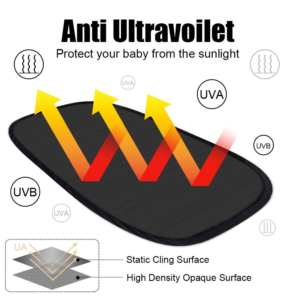 Side and Rear Window Sunshade 4Px 20x12 Car Window Shade lifecolor Car Sun Shade Protect Baby Pet from Sun Glare UV Rays