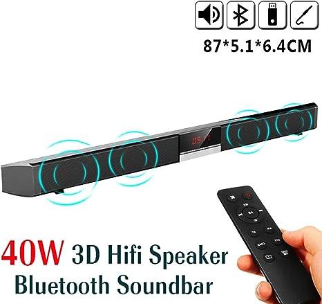 ZIHENGUO Barra de Sonido HiFi Bluetooth TV Altavoz Smart Sound 3D Remoto Estéreo Subwoofer Incorporado Teatro en la Pared montado en casa para PC, móvil, TV, Soporte RCA/AUX: Amazon.es: Deportes y aire