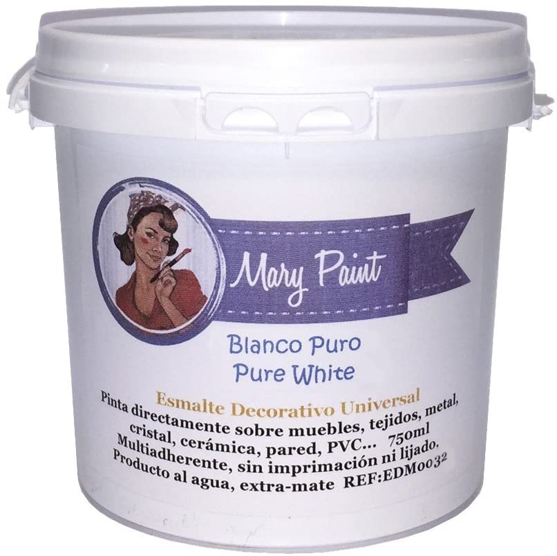Mary Paint | Pintura para muebles efecto Chalk Paint, Blanco Puro - 750ml
