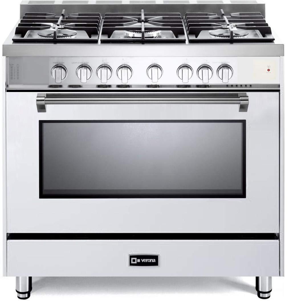 Verona Prestige Series VPFSGG365W 36 inch All Gas Range Convection Oven 5 Sealed Burners Storage Drawer White