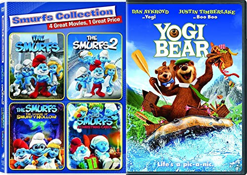 Little Blue Smurfs 4 Pack Kids + Yogi Bear The Movie Feature Family Movie Bundle Legend Smurfy Hollow / Christmas Carol / Part 1 & 2 (Hollow Bear)