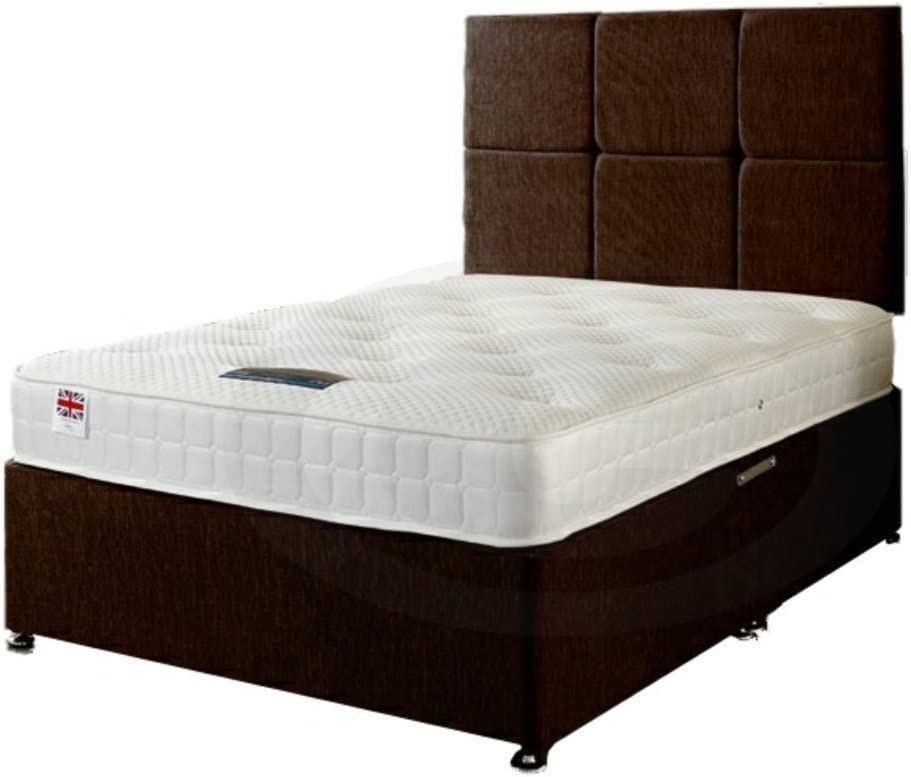 Double 190x57x135, Black Somnior Divan Bed with Spring Mattress 4 Drawers and Headboard in