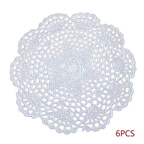 Boburyl 6pcs Hueco algodón de Las Flores de Ganchillo Mat ...