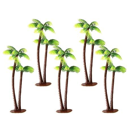 Winomo Model Trees 5pcs 13centimeter Coconut Palm Tree Miniature Landscape Scenery Architecture Railroad Trees