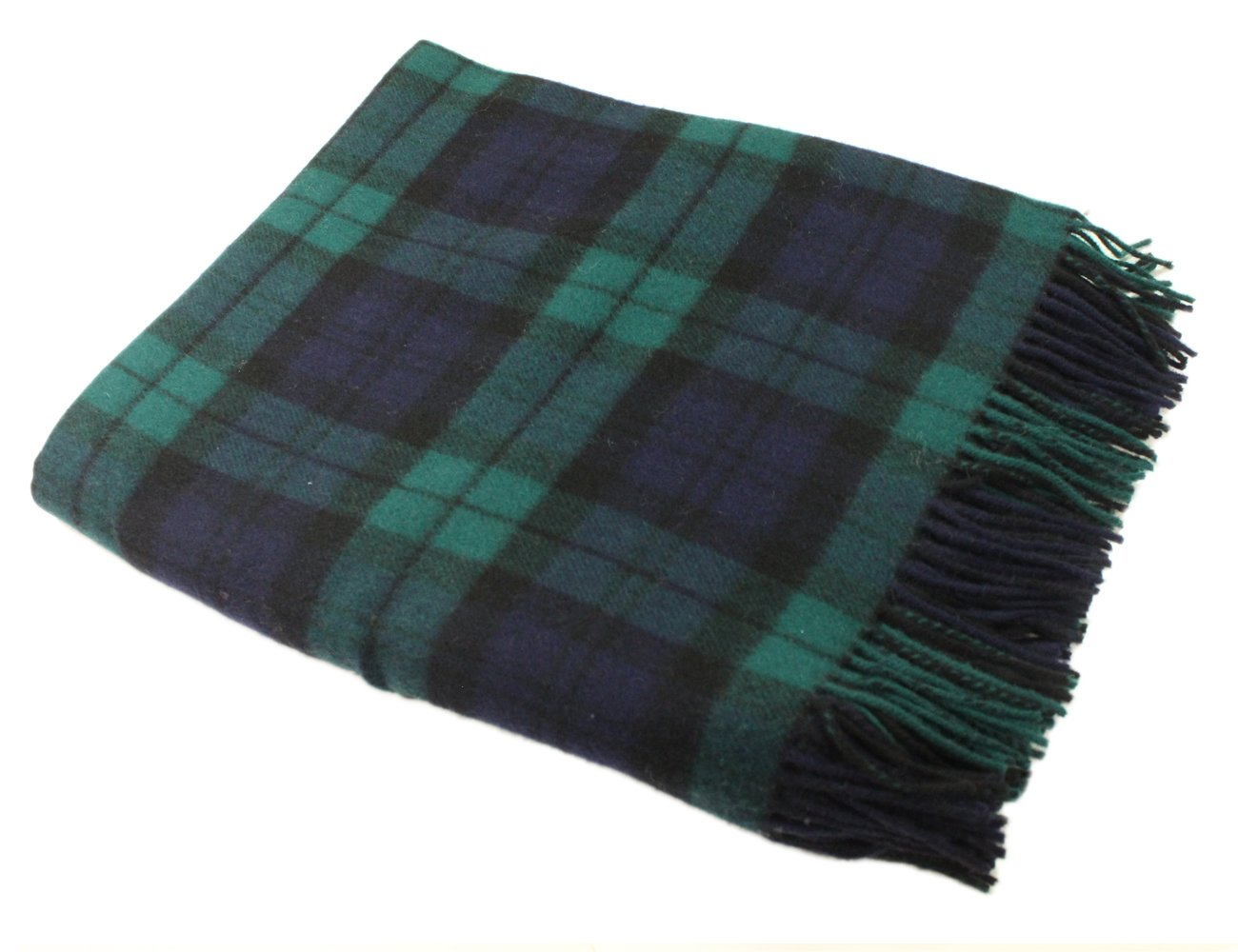 Blackwatch Plaid Blanket 54'' x 71'' Super Soft Lambswool Irish Made by John Hanly