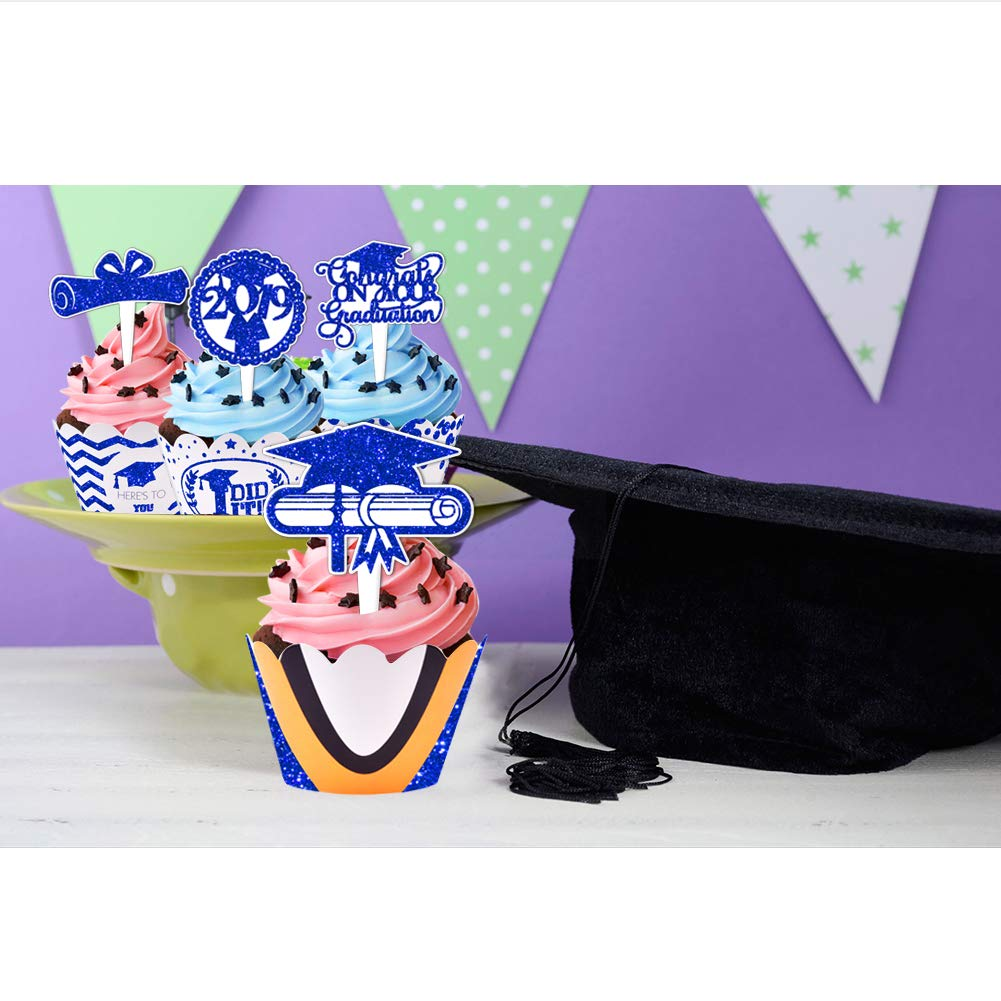2019 Graduation Cupcake Wrappers and Toppers -Graduation Party Decoration,32 Piece Glitter Blue Cupcake Toppers For Class Of 2019 Congrats Grad Party Birthday Party Supplies Favor by Threemart (Image #5)