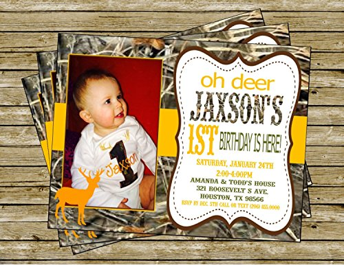 Duck Dynasty Inspired Birthday Invitation - Max 4 Camo Background & Lime Green, Orange and Brown Accents - Party Packs Available