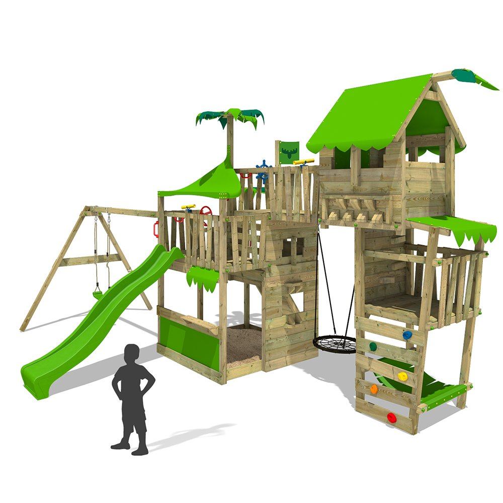 FATMOOSE Spielturm TropicTemple Tall XXL Kletterturm Baumhaus Spielplatz auf 5 Ebenen ...