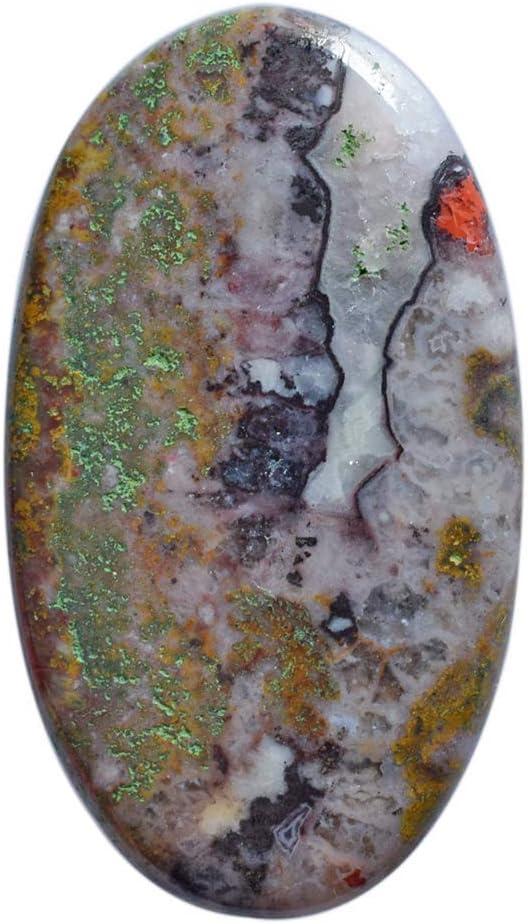 Cabujón de ágata natural marroquí, tamaño 38 x 22 x 4,5 mm, para bisutería, piedra preciosa suelta AG-14756