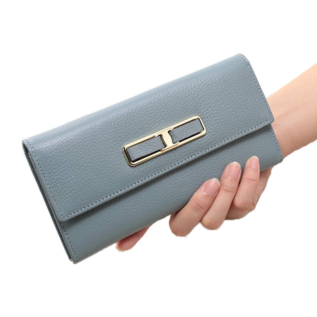Olprkgdg Leder Metall Dekoration Fair Maiden Persönlichkeit Brieftasche Geschenke an Freundin Handtasche Kartenpaket (Farbe   Linen Blau) B07NV7HGL9 Geldbrsen