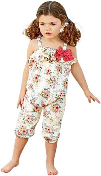 56fa8ab0c1c Minisoya Kids Baby Girls Cute Flower Printed Overalls Romper Bowknot Ruffle  Playsuit Jumpsuit Pants Sunsuit Outfits