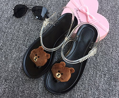 Xing Lin Sandalias De Mujer Sandalias De Verano Personalidad Femenina Preciosa Fruta Limón Harajuku Viento Toe Clips Playa Piso De Estudiantes Jelly Shoes The black bottom of a small bear