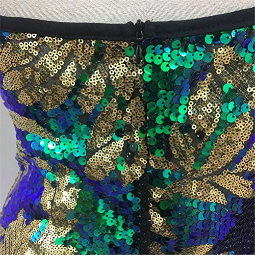 Spaghetti Discoteca Delle A Scollo V Foglia Donne Sexy Verde Maniche Vestito Clubwear Senza Di Paillettes Cinghie RRnqx1OwF