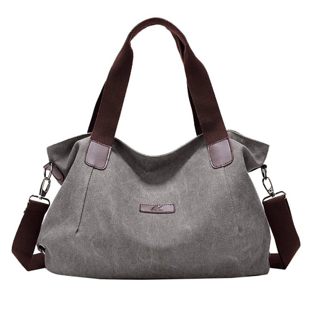 Lonson Womens Shoulder Bag Crossbody Canvas Totes Purses Work Shopping Messenger Bags (Grey)