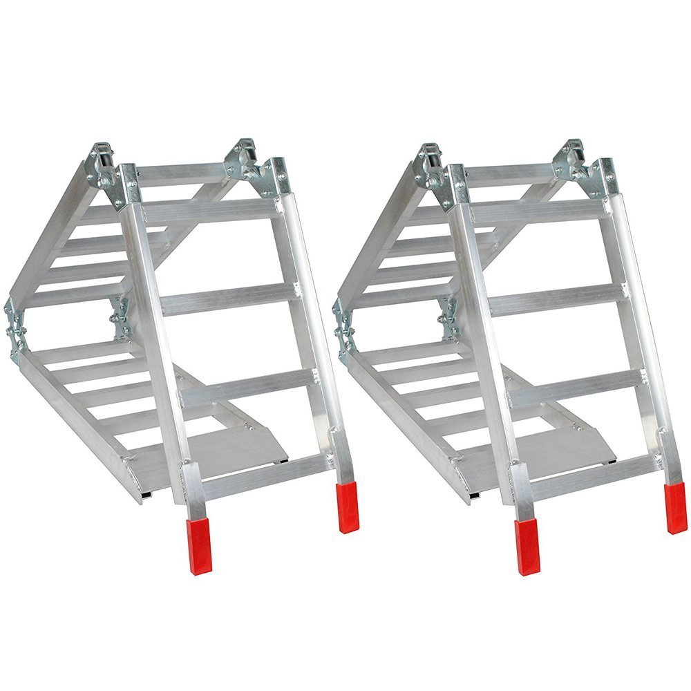 2Pcs 6.5Ft Aluminum Tri-Folding Loading Ramps for Lawnmower ATV Motorcycle Ramp Silver 600lbs Capacity by MILLION PARTS