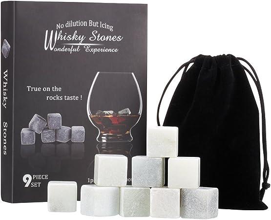 Confezione Regalo con sacchetto in velluto DOBO/® Set di 9 Pietre da whisky cubetti di ghiaccio refrigeranti in roccia per whiskey e drinks riutilizzabili