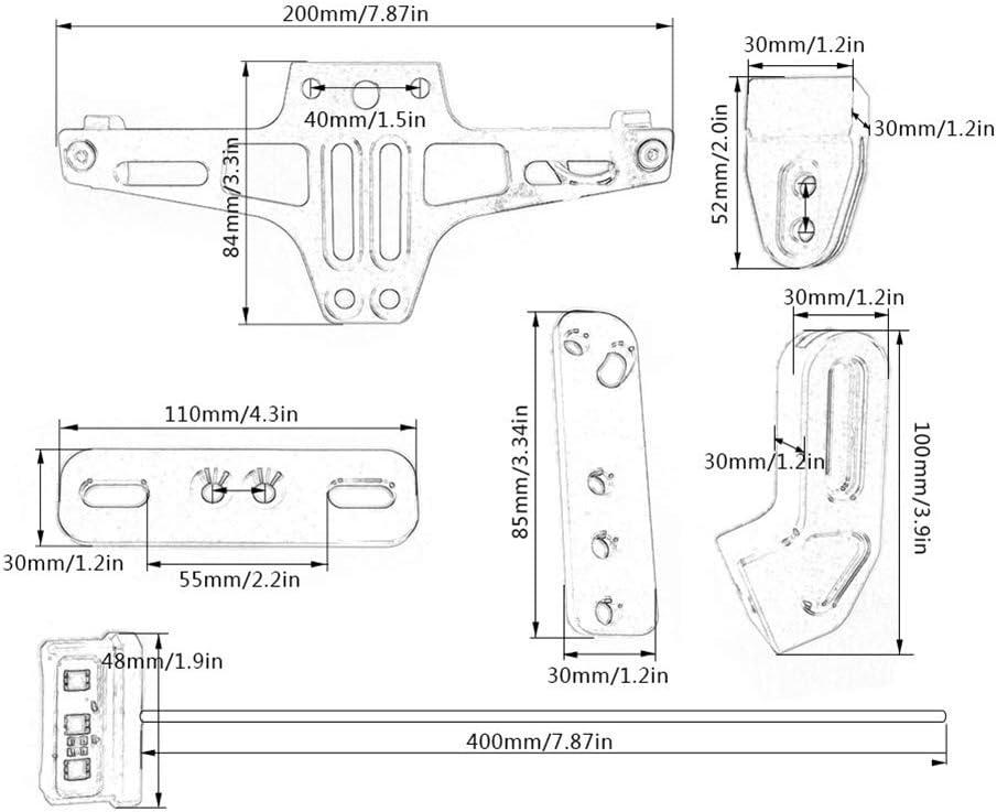 BONNIO Universal Motorrad Aluminium Nummernschildhalter Halterung mit LED-Kennzeichenbeleuchtung