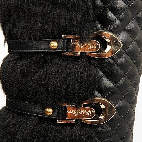Btrada Winter Womens Pull On Calf-mid Boots Foderato In Pelliccia Fibbia Impermeabile Stivaletti Da Neve Morbidi Scarpe Nere