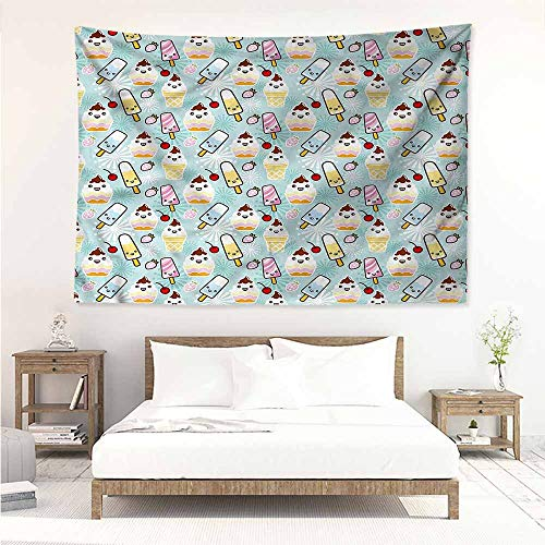 Sunnyhome Bedroom Tapestry,Ice Cream Cupcake Faces,Occlusion Cloth Painting,W74x57L ()