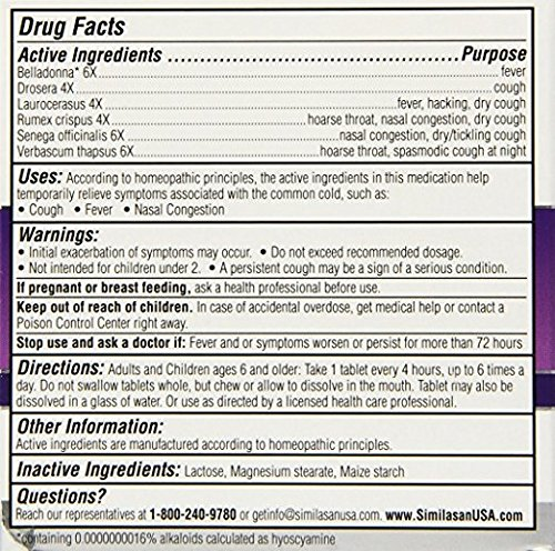 Similasan Cough & Fever Relief, 40 Tablets Each (Pack of 12)