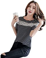Weikon 夏新発売お洒落韓国風ラウンドネックスリム痩せ型条紋短袖Tシャツ組み合わせ自由ショート女上着流行