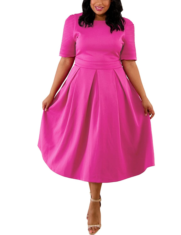 Lalagen Womens Plus Size 1950s Vintage Cocktail Dresses Flare Swing ...