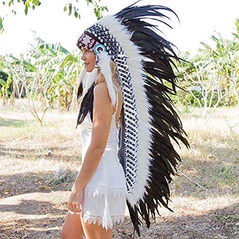 Novum Crafts Feather Headdress   Native American Indian Inspired   Black - Native American Indian Feathers