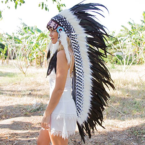 Novum Crafts Feather Headdress | Native American Indian Inspired | Black (Indian Chief Headdress For Sale)
