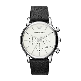 032feb42b Image Unavailable. Image not available for. Color: Emporio Armani Classic  Chronograph White Dial Black Leather Mens Watch AR1810