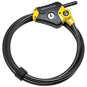 Master Lock Cable Lock, Python Adjustable Keyed Cable Lock, 6 ft. Long, 8413DPF