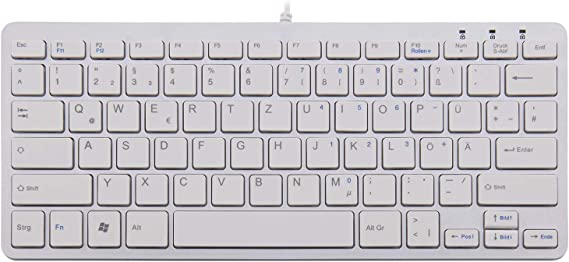 R-Go Tools R-Go - Teclado (QWERTZ (DE), Blanco, Cableada, Mini, Alámbrico, USB, QWERTZ, Blanco)