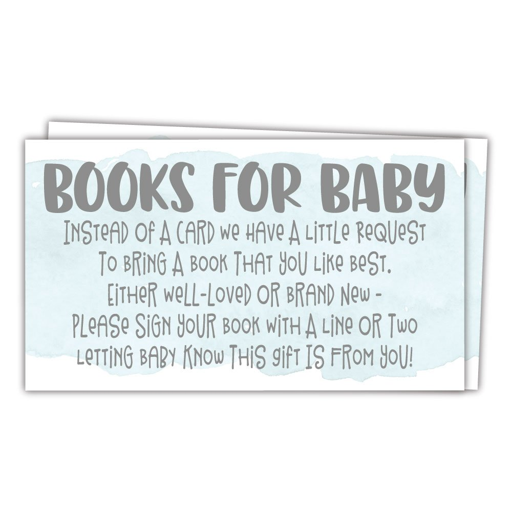50 Blue Watercolor Books for Baby Shower Request Cards - Invitation Inserts - Boy Baby Shower