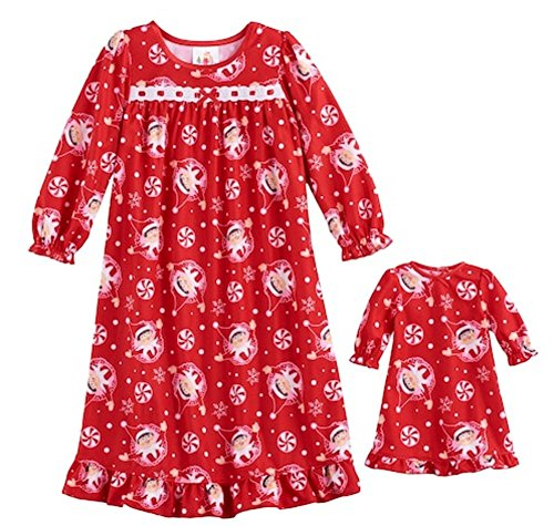 The Elf On The Shelf Scout & Peppermints Ruffled Nightgown & Doll Dress Set - Toddler Girl (Ruffled Nightgown)