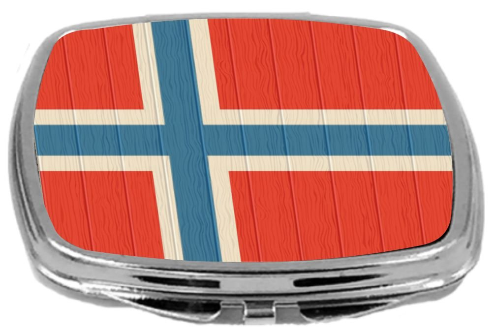 Rikki Knight Compact Mirror on Distressed Wood Design, Svalbard Flag, 3 Ounce