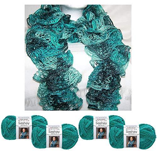 (4 X Yarn Crochet Knitted Scarf Malachite Metallic Green Teal Sashay Knit)