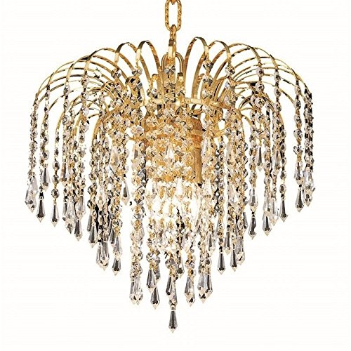 Strass Swarovski Crystal Collection - Elegant Lighting 6801D14G/SS Falls Collection 4-Light Hanging Fixture with Swarovski Strass/Elements Crystals, Gold Finish