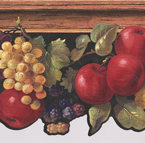 Wallpaper Border Grape (Apples Grapes Berries on Vine Black Wallpaper Border Retro Design, Roll 15' x 9'')