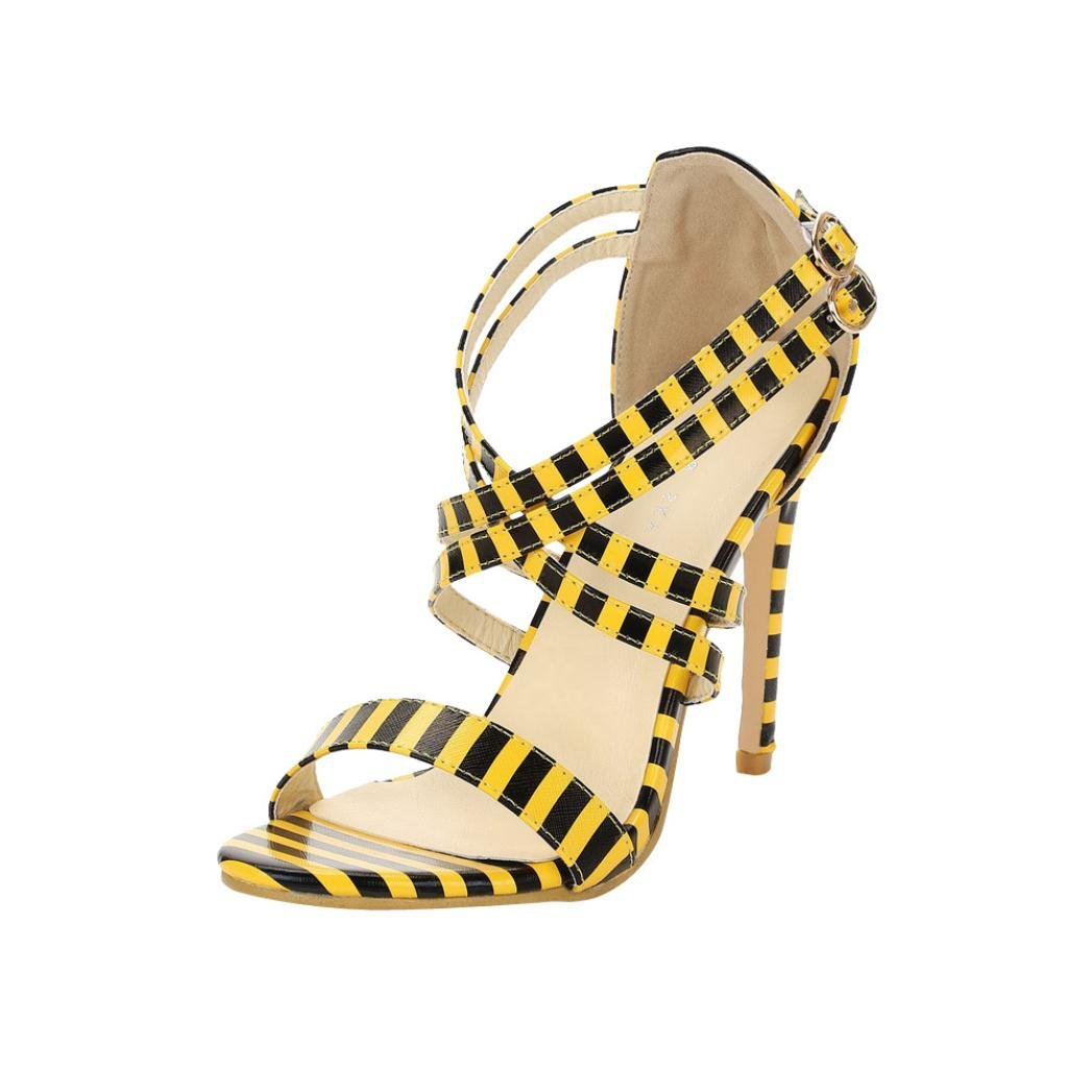 Womens Sexy Open Toe Ankle Strap Pumps High Heel Dress Sandals for Party On Sale (Yellow, US:8)