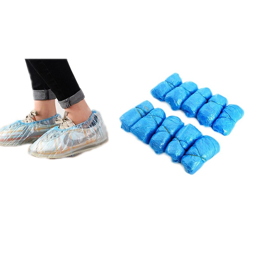 Yonger Waterproof Shoe Covers Disposable Boot Polypropylene Rain Durable Thick Material One Size Fits All Up To XL 100 Pieces/Set Blue