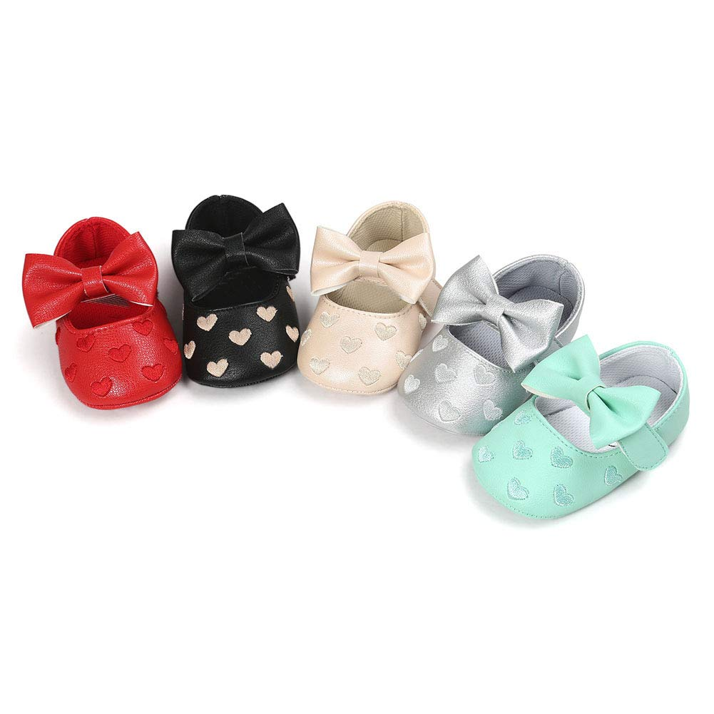 Pink 13cm Alamana Bowknot Heart Infant Baby Girls Soft Sole Anti-Slip Prewalker Toddler Shoes