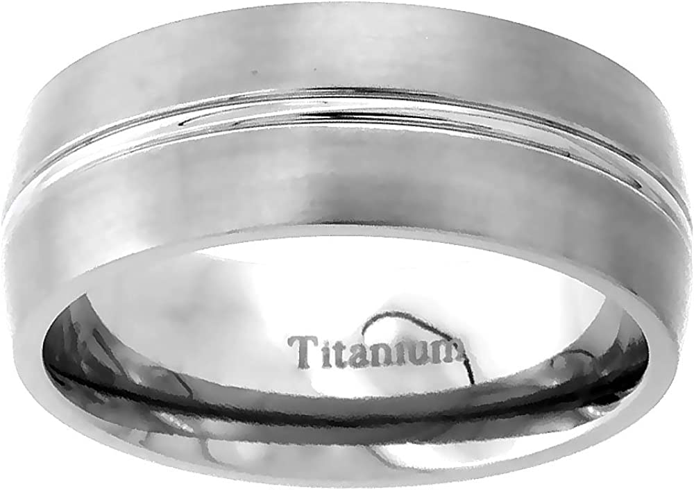 8mm Titanium Wedding Band Ring Convex Groove Center Brushed Finish Domed Comfort Fit Sizes 7-14