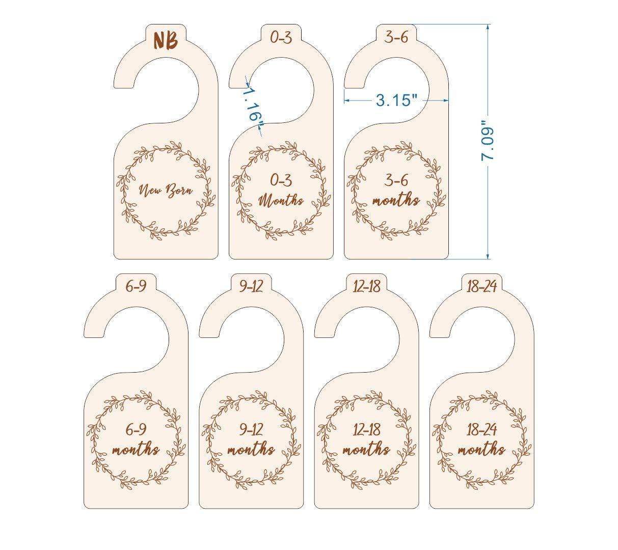 Newborn to 24 Months Baby Cloth Organizer by Age and Size Gender Neutral Nursery Infant Wardrobe Divider Baby Closet Divider Wooden