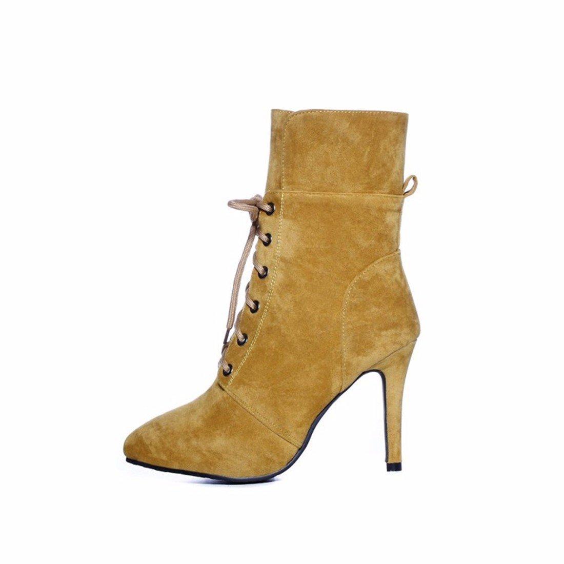 AIKAKA Frauen Herbst und Winter Europa und Amerika Sexy warme High Heel Schuhe