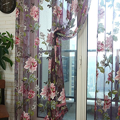 HOMEDECO Elegant Floral Sheer Curtain Retro Rose Window Panel Drape Scarf Valances 39*79 inch
