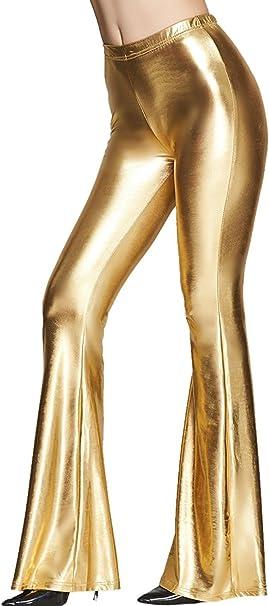 Tamskyt Women Shiny Metallic Flare Bell Bottom Bootcut Palazzo Leggings 70s Disco Wide Leg Pants High Waist Yoga Trousers