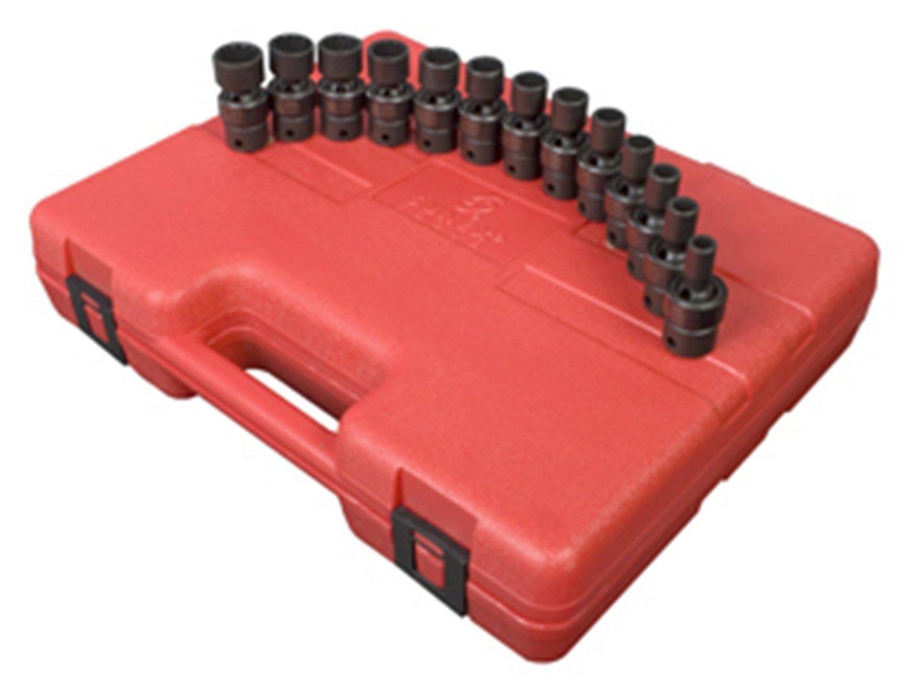 Sunex 3691 3/8-Inch Drive 12-Point Standard Length Metric Universal Impact Socket Set, 13-Piece Sunex International