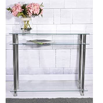 Panana Modern French Style Long Narrow Chrome Console Table Glass Shelves 2 Tier Modern Hall Table Clear