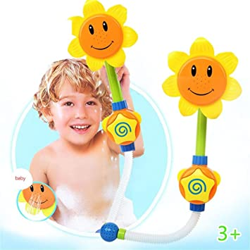 Kawaii Baby Bath Toy Press Sunflower Shower Faucet Learning Head Funny Water Toys