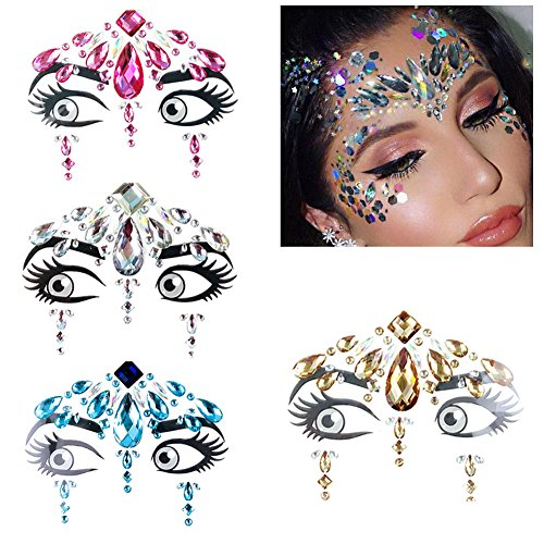 4pcs Temporary Tattoo for Women Girl, Face Gems for Festivals, Face Sticker Makeup Stickers Environmental Diamond Eyebrow Stickers Posted Paste for Glitter Effect/Parties/Shows/Make-up (Style_A) -